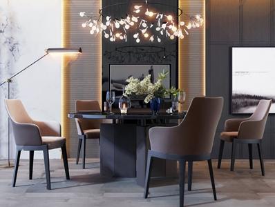后现代高级灰圆形餐桌椅组合3D模型【ID:841631887】