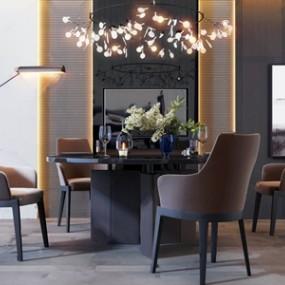 后現代高級灰圓形餐桌椅組合 3D模型【ID:841631887】