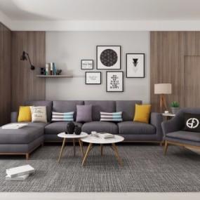 现代布艺转角多人沙发茶几装饰画组合3D模型【ID:127777090】