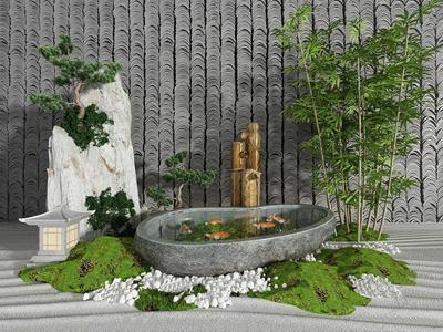 新中式園藝小品假山水景3D模型【ID:134829482】