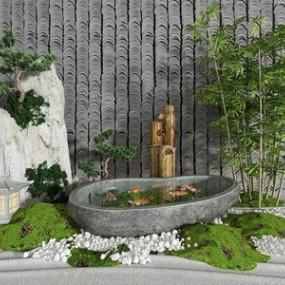 新中式园艺小品假山水景3D模型【ID:134829482】