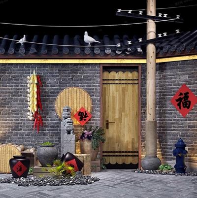 中式餐飲陶罐軟裝小品擺件消防栓組合3D模型【ID:928209136】