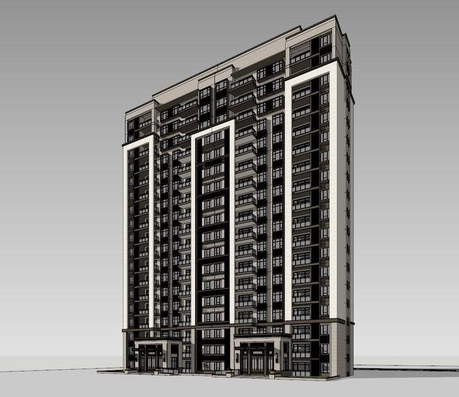 新中式高層住宅Sketchup模型SU模型【ID:236813780】