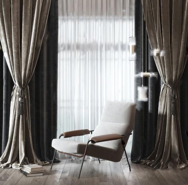 現代高級灰單人沙發椅布藝窗簾組合3D模型【ID:246259647】