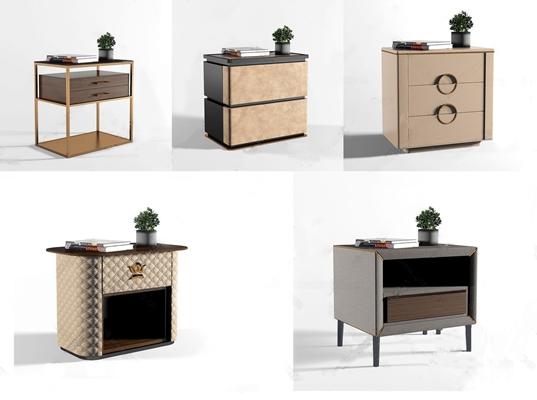现代轻奢床头柜组合3D模型【ID:928352633】