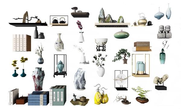 新中式花瓶書籍裝飾擺件模型3D模型【ID:247181514】