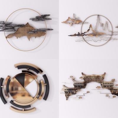 新中式金屬墻飾掛件3D模型【ID:228424207】