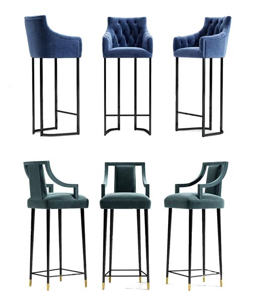 現代組合吧椅3D模型【ID:946258212】