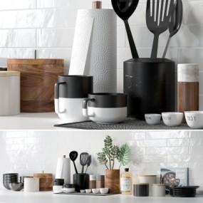 现代厨房厨具餐具摆件组合3D模型【ID:927837357】