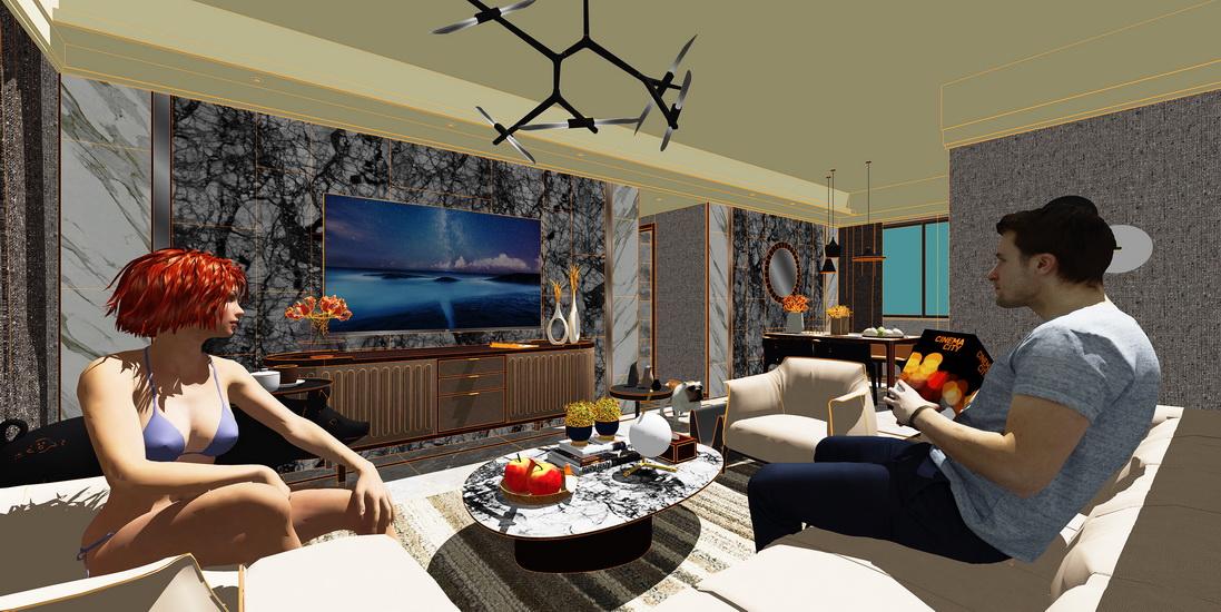 現代簡約三房兩廳室內設計SU模型【ID:436815907】