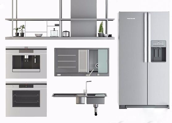 现代厨房电器3D模型【ID:828156339】