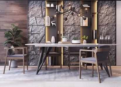 現代餐桌椅3D模型【ID:331400456】