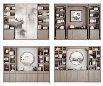 新中式书柜组合3D模型【ID:142042565】