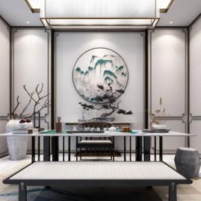 新中式茶室3D模型【ID:328438484】