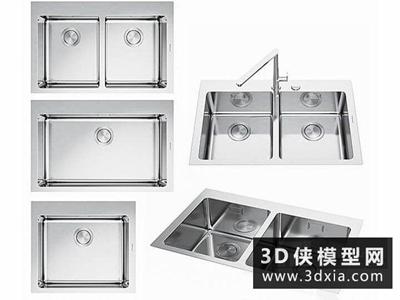 現代洗菜盆國外3D模型【ID:129360359】