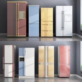 现代冰箱组合3D模型【ID:127773219】