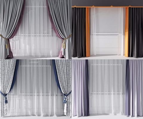 現代窗簾組合3D模型【ID:328247849】