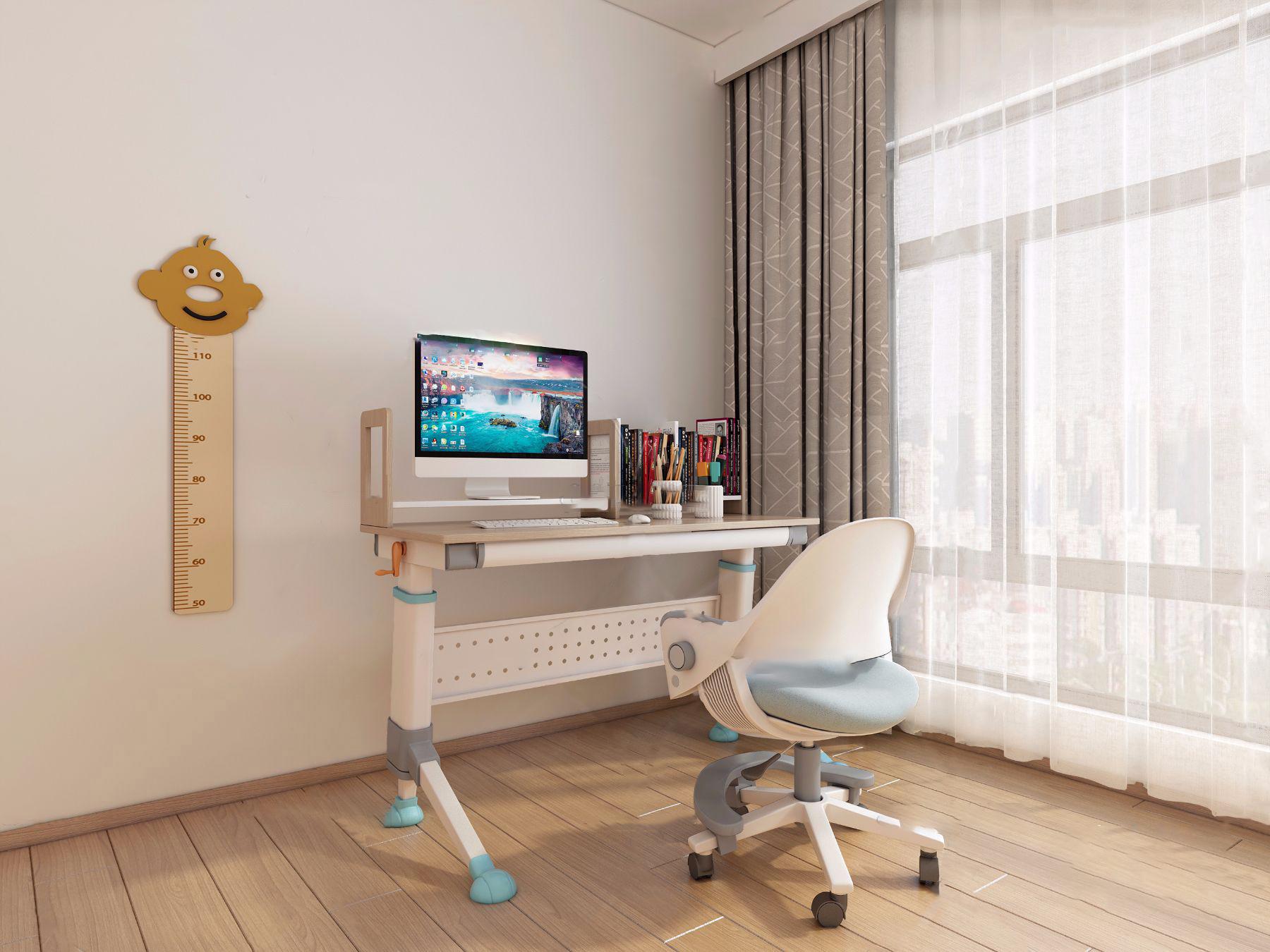 现代儿童书桌椅3D模型【ID:943096379】