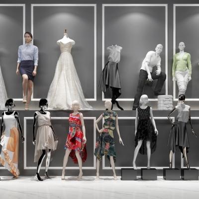 現代時尚人物服裝模特組合3D模型【ID:527800199】