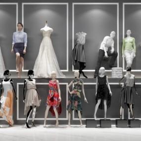 现代时尚人物服装模特组合3D模型【ID:527800199】