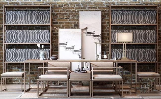 新中式书桌椅组合3D模型【ID:328247711】
