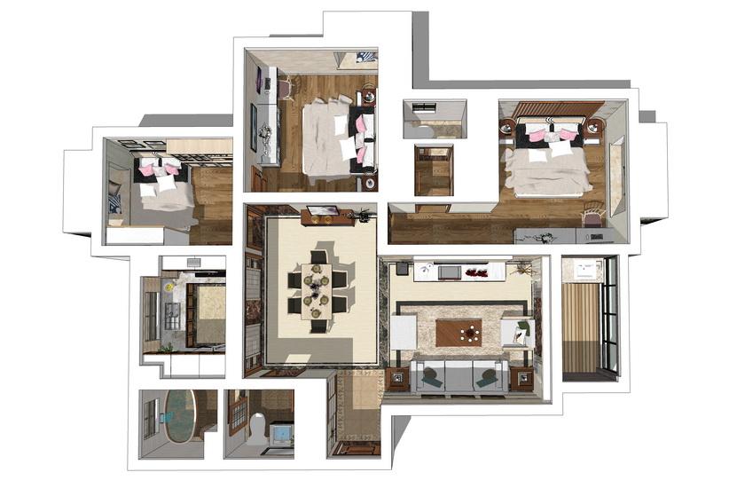 現代風格三房兩廳室內設計SU模型【ID:936821838】