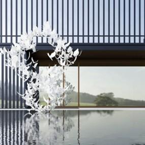 新中式售楼处景观3D模型【ID:428269595】