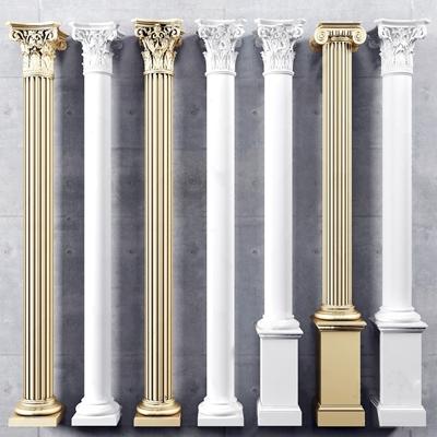 歐式石膏羅馬雕花柱組合3D模型【ID:334113411】