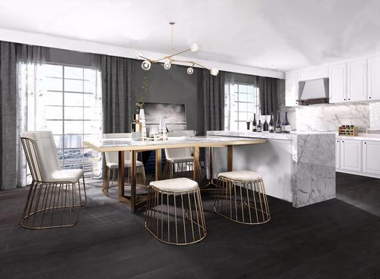 现代轻奢餐厅厨房3D模型【ID:828326595】