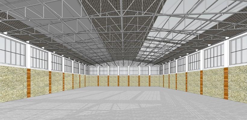 鋼結構框架工業廠房SU模型【ID:846369057】