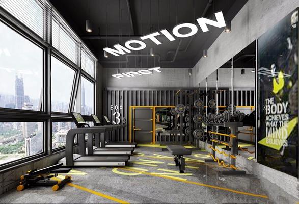 工業健身房3D模型【ID:928336605】