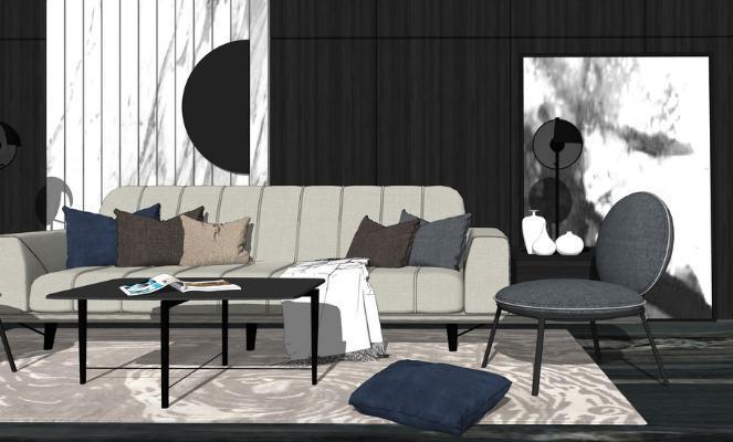 现代沙发茶几单人椅子组合SU模型【ID:746379655】