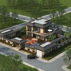新中式别墅3D模型【ID:626225017】