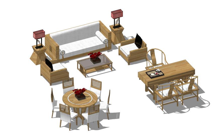 现代客厅沙发茶几餐桌茶桌组合SU模型【ID:436827105】