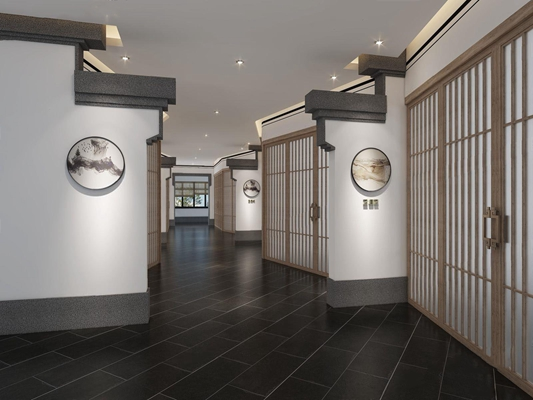 新中式酒店過道3D模型【ID:427971862】