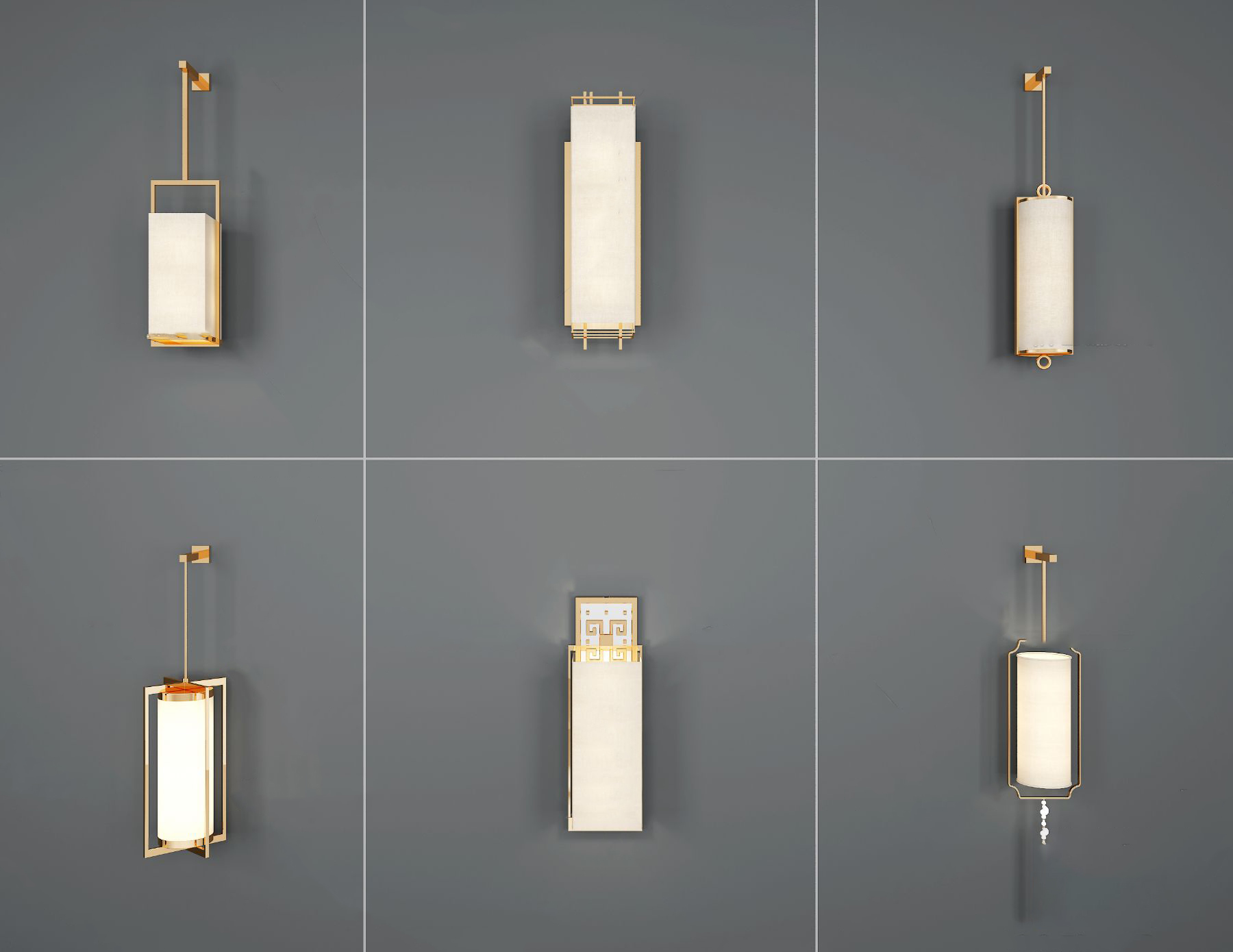 新中式壁灯组合3D模型【ID:743274938】