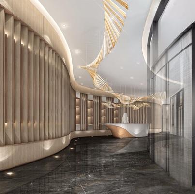 现代风格走廊接待前台3D模型【ID:427967815】