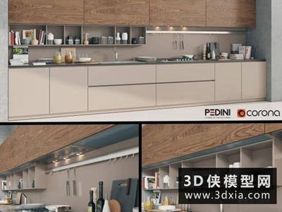 现代厨柜国外3D模型【ID:829361009】
