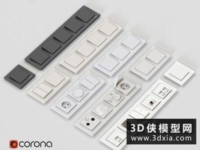 开关面板国外3D模型【ID:129373771】