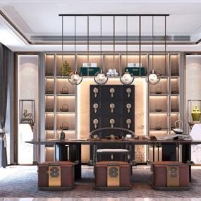 新中式茶室3d模型【ID:547179978】