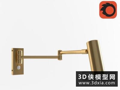 現代金屬壁燈國外3D模型【ID:829496874】