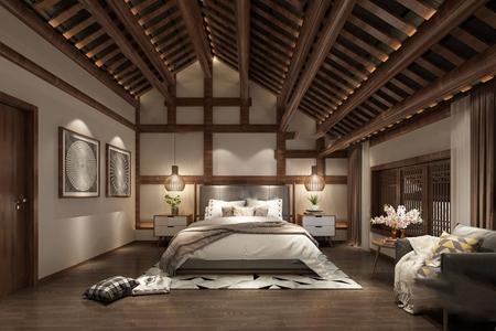 新中式民宿酒店客房3D模型【ID:431401688】