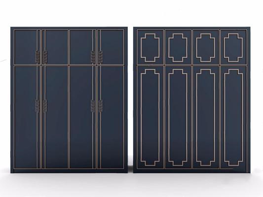 新中式衣柜3D模型【ID:928329927】