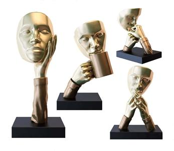 现代轻奢金属人头雕塑摆件3D模型【ID:335926166】