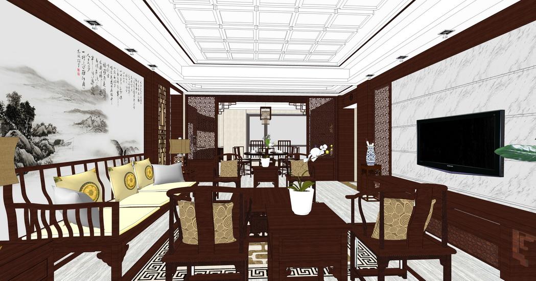中式客厅餐厅室内设计SU模型【ID:936832860】