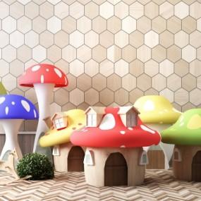 现代儿童幼儿园游乐园蘑菇房组合3D模型【ID:527803706】