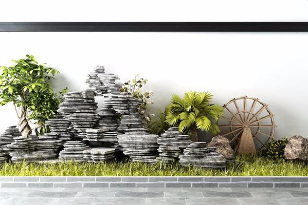 中式石头假山植物水车景观组合3D模型【ID:928353181】