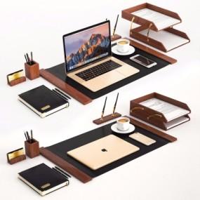 现代苹果笔记本手机办公用品组合3D模型【ID:928563634】