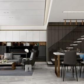 现代客餐厅 3D模型【ID:541470050】