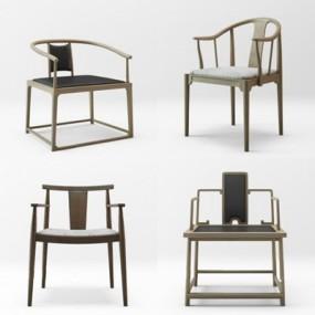 新中式椅子组合3D模型【ID:227882424】